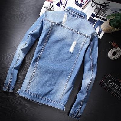 牛仔外套-韓版時尚個性磨破繡標男丹寧夾克2色73rj36【巴黎精品】