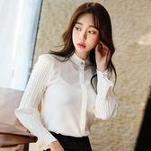 白色雪紡襯衫女長袖正韓學生立領上衣港味襯衣寸 巴黎时尚生活