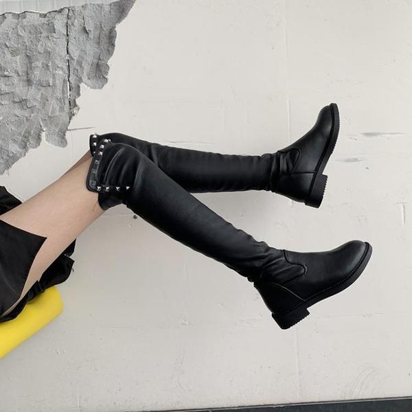長靴女過膝靴2021秋季新款ins網紅瘦瘦長筒靴小個子高筒騎士皮靴3C數位百貨