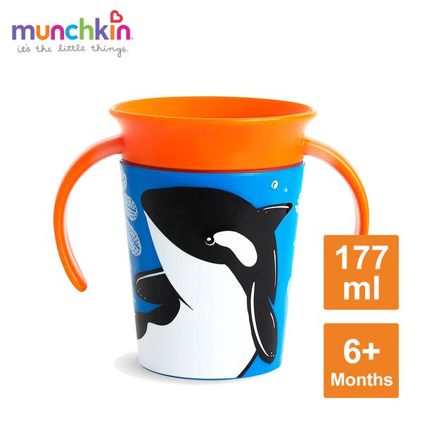 munchkin滿趣健-360度繽紛防漏練習杯177ml-虎鯨