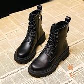 馬丁靴女百搭秋冬加絨厚底棉鞋內增高短靴【橘社小鎮】