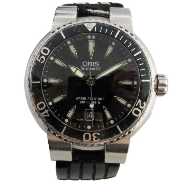 ORIS AQUIS系列黑色面盤男性腕錶 7533【二手名牌 BRAND OFF】