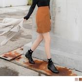《CA1743》純色磨毛感後腰鬆緊刺繡雕花下襬A字短裙 OrangeBear