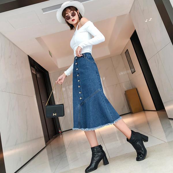 韓國風牛仔毛邊半身裙