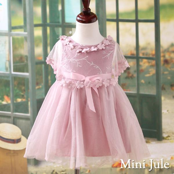 Mini Jule 女童洋裝 花朵網紗披肩刺繡無袖洋裝(紫)