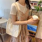 包包 蕾絲大容量水桶手提草編編織女包包單肩購物袋【聚可愛】
