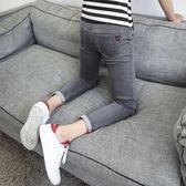 薄款9分牛仔褲男士韓版修身青少年九分小腳褲潮流男裝男褲子    琉璃美衣
