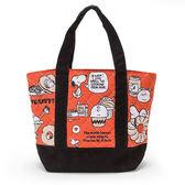 《Sanrio》SNOOPY幽默圖紋系列防潑水迷你提袋(紅-美式甜點) ★funbox生活用品★_501816