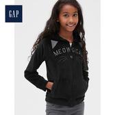 Gap女童柔軟蓬鬆貓咪圖案連帽休閒上衣498899-正黑色
