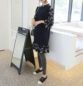 BabyShare時尚孕婦裝【JAN9390】現貨 孕婦裝 韓國歐膩風 加大尺碼 長版 碎花雪紡拼接連身裙-藍