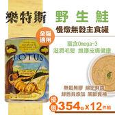【SofyDOG】LOTUS樂特斯 慢燉無穀主食罐野生鮭 全貓配方( 354g 12件組) 貓罐 罐頭