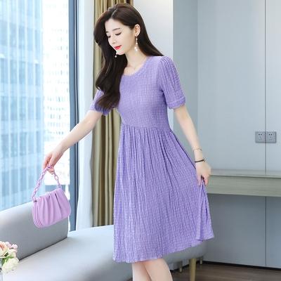 洋裝大碼雪紡連身裙香芋紫連身裙溫柔風收腰顯瘦裙仙女百搭紫色長裙1F-105 胖妹大碼女裝