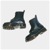 特賣馬丁靴QUEEN《固特異工藝》秋新款軟皮厚底8孔1460馬丁靴短靴女繫帶鞋