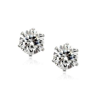 耳環 925純銀鑲鑽-簡約氣質生日情人節禮物女耳針2色73gt72【時尚巴黎】