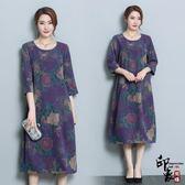 大尺碼洋裝新仿真絲連身裙寬鬆大尺碼顯瘦桑蠶絲印花復古裙女 618降價