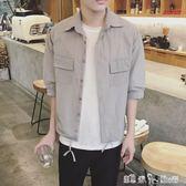 日系夏季男士襯衫短袖修身韓版七分袖白襯衣休閒條紋衣服潮流外套 「潔思米」