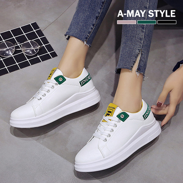 小白鞋-字母撞色綁帶厚底休閒鞋