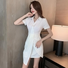 襯衫洋裝 法式復古連身裙夏裝女氣質收腰顯瘦優雅包臀翻領襯衫裙-Ballet朵朵