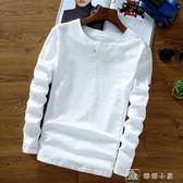 男士加大碼中國風男裝亞麻料T恤復古上衣服棉麻布長袖純色t桖 店慶