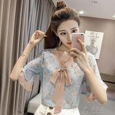 2018春裝新款喇叭袖襯衫碎花蝴蝶結雪紡衫韓版寬鬆超仙甜美上衣薄         俏女孩