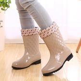 女士雨鞋中筒保暖暖雨鞋套加絨雨靴防滑女式水鞋高筒加棉膠鞋【七七特惠全館七八折】