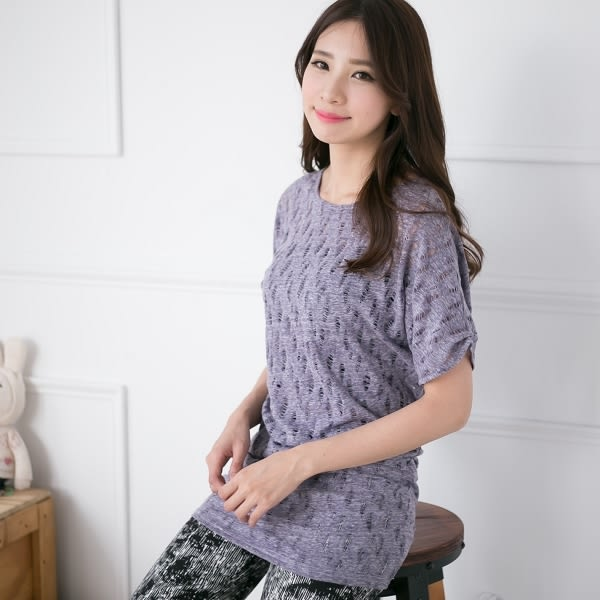 ☆NO.202 SHOP【2396】紫~全尺碼~修飾度最佳腰身款~個性撕裂風長版上衣~大尺碼