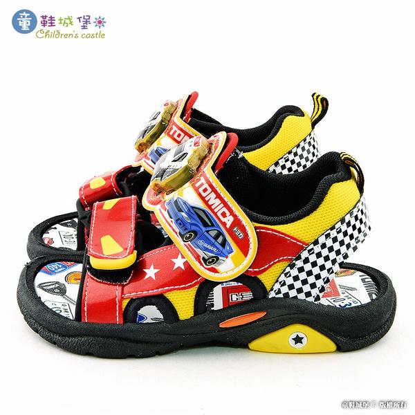 童鞋城堡-Tomica多美小汽車 警車造型 電燈涼鞋 TM3619 紅