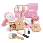 女孩粉紅化妝木製扮家家酒套組 兒童玩具 化妝遊戲組 仿真食物玩具
