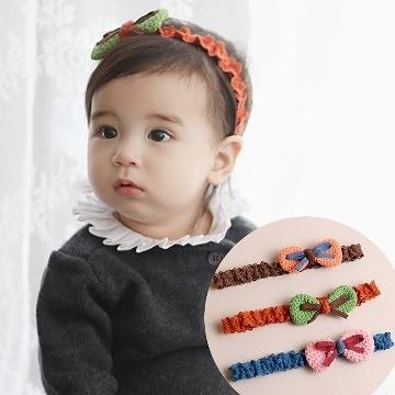 UNICO 韓版 兒童甜美系毛線蝴蝶結髮帶
