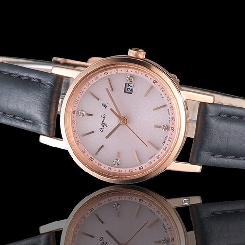 agnes b. 簡約甜美太陽能腕錶 V137-KLT0P