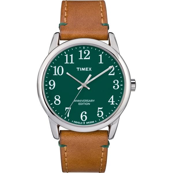 【TIMEX】天美時Easy Reader 40週年紀念款跳色手錶(綠/駝色 TXTW2R35900)