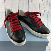 BRAND楓月 PRADA 1E142H 黑色 牛皮 紅鞋帶 流蘇裝飾 休閒鞋 平底鞋 保齡球鞋 #37