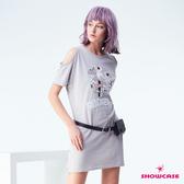【SHOWCASE】休閒小鳥刺繡挖肩短袖長版T恤(灰)