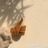 韓國ins冬季保暖學生針織加厚加絨騎行拼色防寒五指觸屏手套女 雙十二全館免運