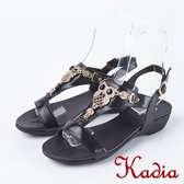 2018春夏新品 Kadia.貓頭鷹造型牛皮涼鞋(8104-90黑)