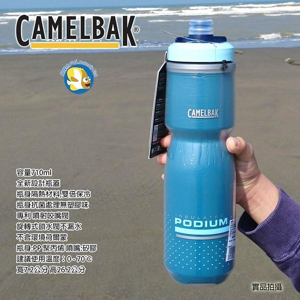 [Camelbak 公司貨] Camelbak 710ml Podium 2倍保冷 噴射水瓶 藍綠;蝴蝶魚戶外