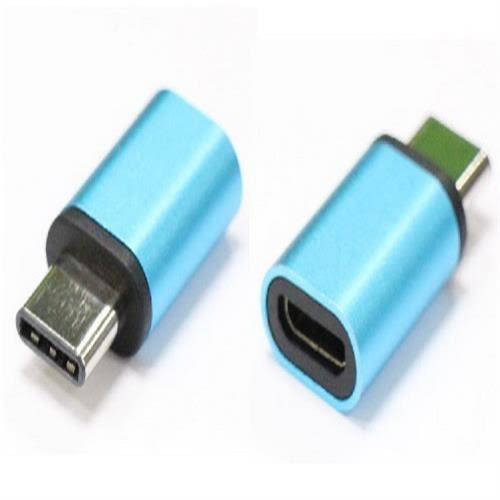 炫彩3.1 Type C公-USB2.0 MicroB母轉接頭(藍色)