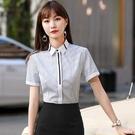 藍白細條紋顯瘦OL上班族短袖襯衫上衣[2...