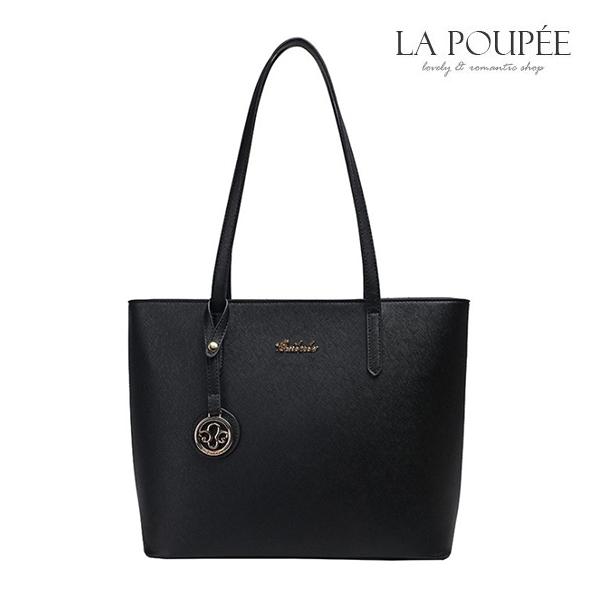 手提包 簡約百搭吊牌裝飾托特包 2色-La Poupee樂芙比質感包飾 (現貨)