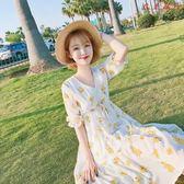 碎花連身裙夏季清新V領收腰中長款雪紡裙