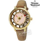 Vivienne Westwood / VV055PKTN / Tate 女人知心鏤空時標皮革手錶 粉x金框x淺棕 33mm