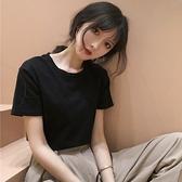 短袖T恤 2021年夏季新款韓版學生內搭短袖黑色T恤韓版女裝打底衫上衣ins潮