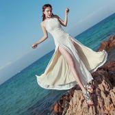 性感掛脖露背開叉蕾絲連身裙洋裝波西米亞收腰海邊沙灘度假長裙夏 【快速出貨】