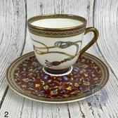 BRAND楓月 HERMES 愛馬仕 圖案 圖騰 飾邊 小花  馬具 圓形 茶杯 茶盤 咖啡杯 茶具組 擺飾 擺件 2