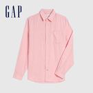 Gap男裝 清爽格紋翻領長袖襯衫 548296-粉色