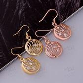 耳環 玫瑰金純銀 鑲鑽-經典復古圓形鏤空生日情人節禮物女飾品2色73bu53[時尚巴黎]