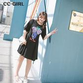 中大尺碼 休閒字母T恤洋裝 - 適XL~5L《 66589K 》CC-GIRL
