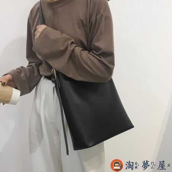 水桶包包女包時尚復古簡約百搭大容量側背斜背包【淘夢屋】