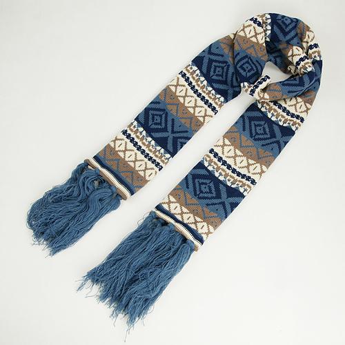 民族風針織棉圍巾【天空藍】 N014 韓版 羊絨 混毛料【Vogues唯格思】
