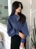 2019新款藍色襯衫女春秋裝長袖復古港味燈籠袖立領咖啡色襯衣上衣 米娜小鋪